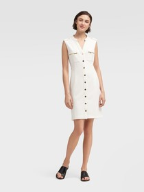 Donna Karan Button Down Sleeveless Sheath Dress