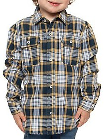 Dex Little Boy's Plaid Cotton Collared Shirt NAVY