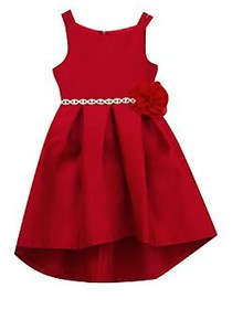 Rare Editions Girl's Pleated High-Low Dress RED