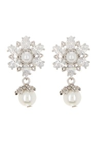 Marchesa CZ Double Simulated Pearl Crystal Drop Ea