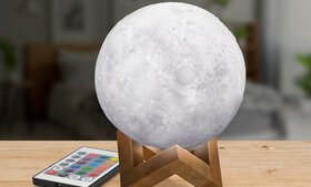3D Light-Up and Rechargeable Moon Lamp with Remote