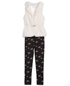 Beautees Big Girls 2-Pc. Faux-Fur Vest & Floral-Pr