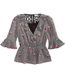 Monteau Big Girls Floral-Print Wrap Top