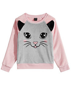 Awake Little Girls Plush Cat Sweatshirt