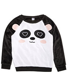 Awake Big Girls Plush Panda Sweatshirt
