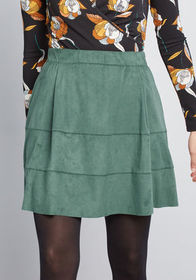 Promised Pockets Mini Skirt in Muted Green
