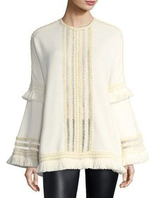 Andrew Gn Tulle-Trim Bell-Sleeve Top