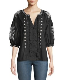 Neiman Marcus Artisan Embroidered Button-Front Blo