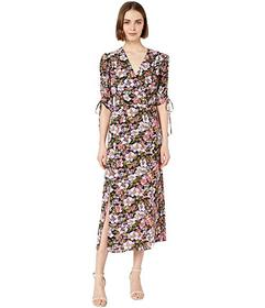 WAYF Boomer Ruched Sleeve Midi Dress