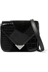 ALEXANDER WANG Patchwork suede, croc-effect and te