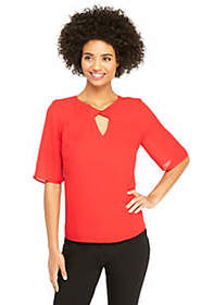 The Limited Flutter Elbow Sleeve Keyhole Neck Top