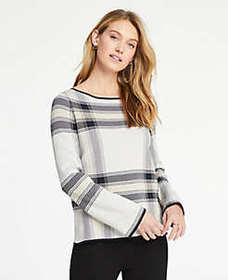 Plaid Jacquard Bell Sleeve Sweater