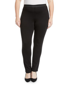 Neiman Marcus Skinny-Leg Knit Jeggings Plus Size
