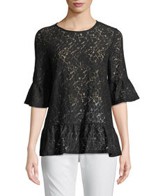 Neiman Marcus Flare-Sleeve Lace Blouse