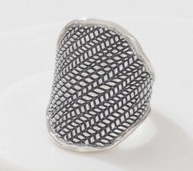 Or Paz Sterling Silver Textured Saddle Ring - J361