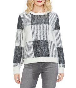 Vince Camuto Plaid Patchwork Sweater