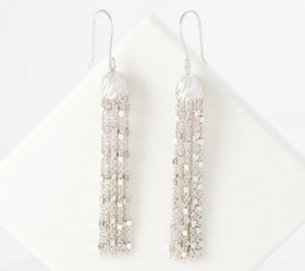 Sterling Silver Tassel Earrings by Silver Style -