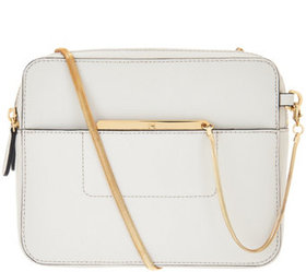 """""""As Is"""" H by Halston Smooth Leather Crossbody Bag"""
