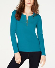 I.N.C. Zip-Front Henley Sweater, Created for Macy'