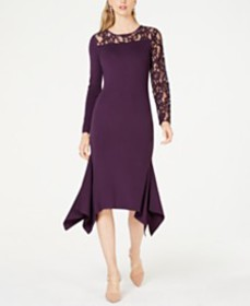 I.N.C. Lace-Inset Sweater Dress, Created for Macy'