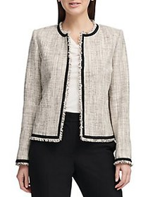 Donna Karan Frayed Tweed Jacket GOLD