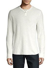 Lucky Brand Long Sleeve Burnout Thermal Tee SNOW W