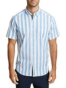 Nautica Striped Short-Sleeve Classic-Fit Button-Do
