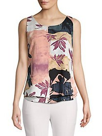 Donna Karan Printed Sleeveless Top CERISE MULTI