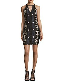 Guess Keyhole Printed A-line Dress BLACK MULTI