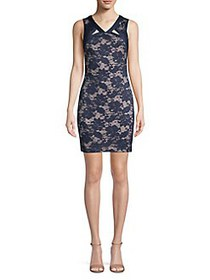 Guess Floral Lace Bodycon Dress NAVY NUDE