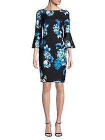 Calvin Klein Floral Bell Sleeve Dress LAGOON MULTI