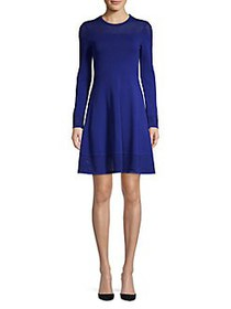 Vince Camuto Mesh Trimmed Knit Fit-&-Flare Dress C