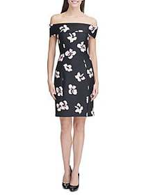 Tommy Hilfiger Off-The-Shoulder Floral Sheath Dres