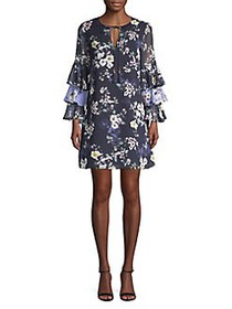 Vince Camuto Layered Ruffle Sleeve Floral Chiffon