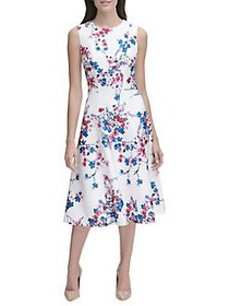 Tommy Hilfiger Eloise Floral Scuba Fit-&-Flare Mid