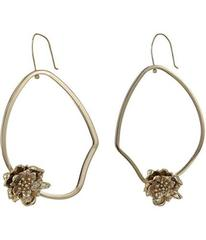 French Connection Asymmetrical Floral Hoop Earring