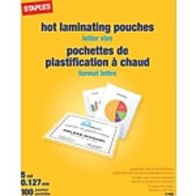Staples 5 mil Thermal Laminating Pouches, Letter S