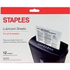 Staples® Shredder Lubricant Sheets 12/pk, Shredder