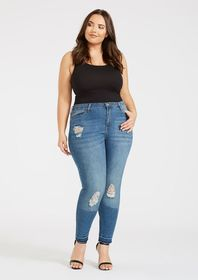 Plus Size Skinny Ripped Jean