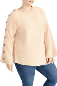 Rachel Rachel Roy Adley Button Sleeve Sweater (Plu