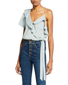 ASTR Tansy Ruffle V-Neck Crop Top