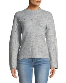Free Generation Ribbed Pearly Dolman-Sleeve Sweate