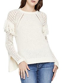 BCBGeneration Fringe-Trimmed Slit-Sleeve Knit Top