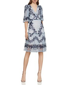 BCBGMAXAZRIA - Floral-Embroidered Lace Dress