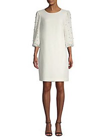 Karl Lagerfeld Paris Faux-Pearl Sleeve Shift Dress