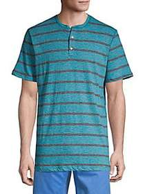 SURFSIDESUPPLY Striped Cotton Henley TURQUOISE