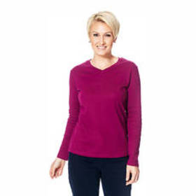 Plus Size Hasting & Smith Long Sleeve Solid V-Neck
