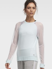 Donna Karan Crew Neck Pullover With Mesh Sleeves