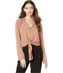 BCBGeneration Tie Front Long Sleeve Woven Top