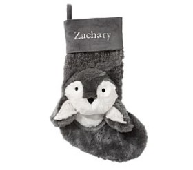Pottery Barn Dark Gray Penguin Faux-Fur Stocking